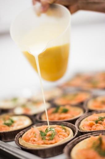 Salmon tarts being made in our kitchen
