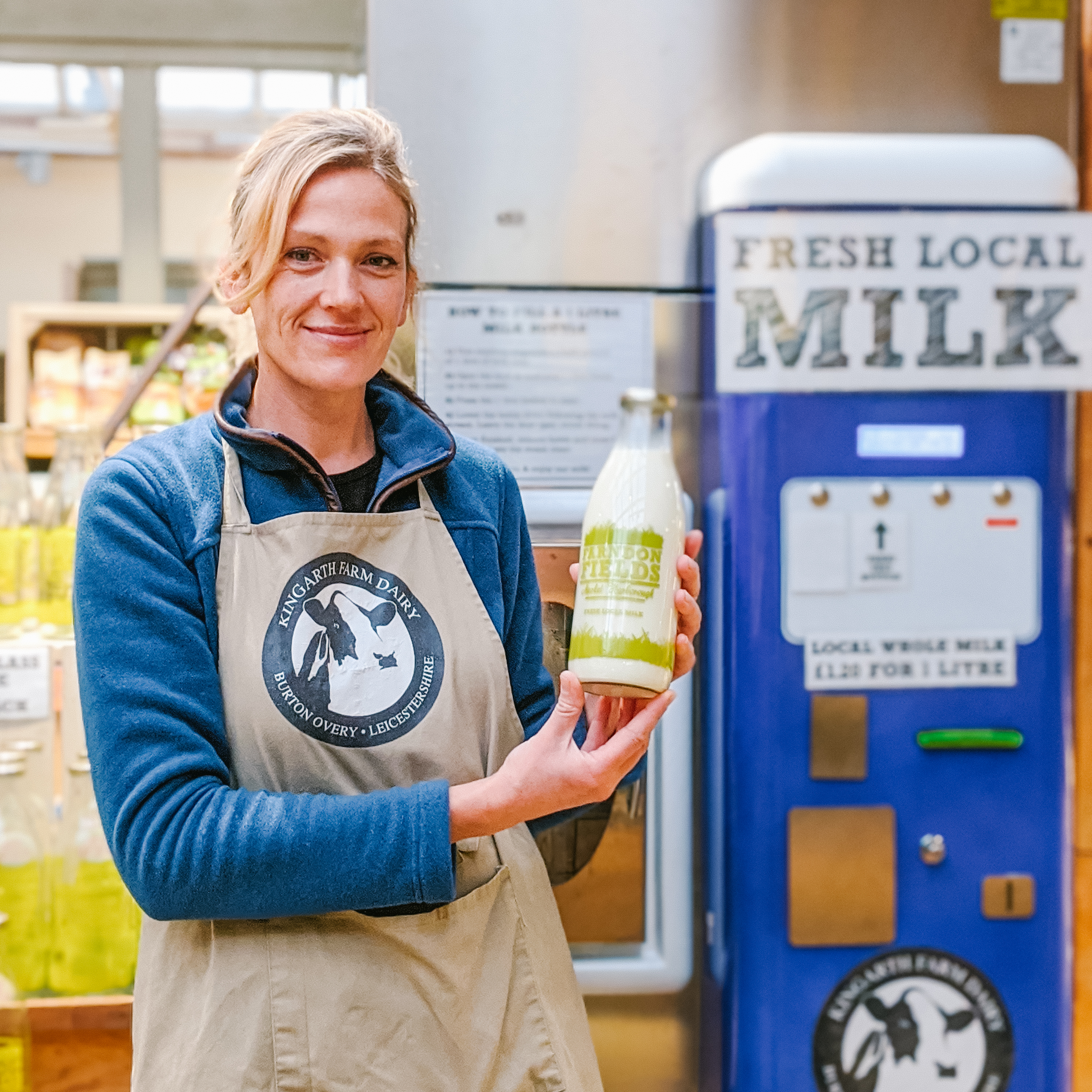 Farndon Fields Milk vending machine, Market Harborough. Award winning farm shop selling local produce, local milk and local meat.